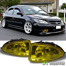 2004-2005 Honda Civic 2/4Dr JDM Yellow Bumper Fog Lights Driving Lamps w/ Switch