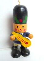 Christmas Marching Band Guitar Player Wooden Ornament 1984 vintage