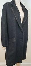 VANESSA BRUNO marron & noir laine alpaga mohair à boutonnage simple manteau d'hiver 40 12
