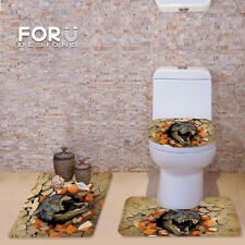 3D Effect Dinosaur Bathroom Carpet Set 3pcs Pedestal Rug Toilet Seat Cushion Rug