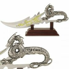Fantasy Dragon Knife with Display Stand and Cast Metal Dragon Handle Collectible