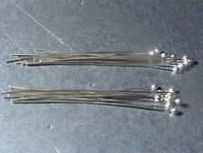 Sterling Silver 925 Hand Crafted Ball Headpins dead soft 50mm x 0.5mm,pack of 20