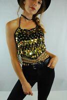 Black & Gold Sequin Coin Crop Bra Top Rave Ibiza Festival Belly Dance 6 8 10 12