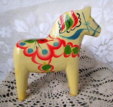 "Dala Horse Figurine Rare Light Yellow Hand Painted 5"" Dala Horse by G. A. Olsson"