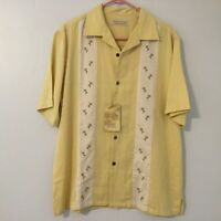NWT ISLAND REPUBLIC Yellow Palm Large Short Sleeve 100% Silk Hawaiian Shirt