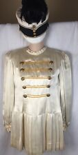 VTG Marching Band 1950's Majorette Ivory Gold Costume W Feathered Hat Uniform