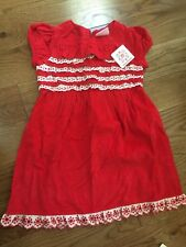 NWT NEW Hanna Andersson Girls Red Ruffled Eyelet Holiday Cord Dress 90