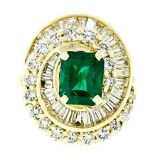 14k Gold 4.15ctw GIA Emerald Channel Baguette & Round Diamond Swirl Cluster Ring