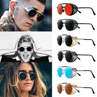 Retro Steampunk Round Sunglasses Vintage Metal Side Shield Designer Goggles