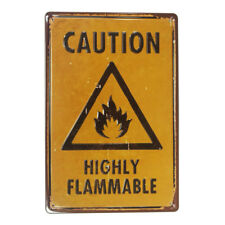 Warning & Caution Highly Flammable Plate Vintage Tin Metal Signs