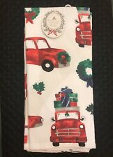 Wellesley Manor Red Pick-Up Truck (100% Cotton) Christmas Kitchen Towels (SET/2)