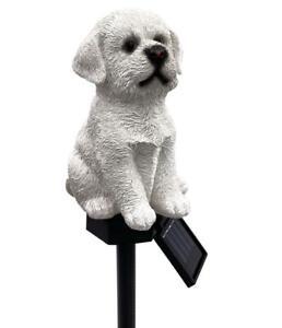 LED Solar Dekofigur Solar Leuchte Figur Tier Garten Solarfigur Hund