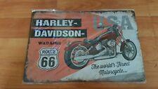 Harley Davidson Route 66 Metal Sign Plaque Mancave Garage Shed