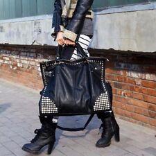 Trendy Ladies Leather Shoulder Bag Rivet Shopping Crossbody Messenger Tote Bag