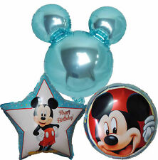 3PCES BABY BLUE MICKEY HEAD HAPPY BIRTHDAY BALLOON BABY SHOWER 1st 2nd 3rd PARTY