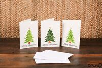 Set of 3 Handmade Xmas Christmas Cards Sparkly Gold Star Green Tree Water Colour