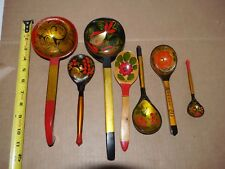 VINTAGE RUSSIAN  WOODEN  Spoons  HANDMADE lot of 7