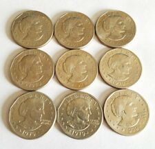 Lot of 9 SUSAN B ANTHONY One Dollar $1 COIN 1979 D