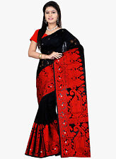 Black Red Bollywood Saree Indian Ethnic Party Wear Wedding Sari