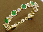 R256- REAL 9K Solid Gold Natural Emerald Diamond Eternity Ring Stackable size M