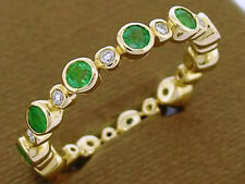 s256 Genuine 9K Gold Natural Emerald Diamond Full Eternity Ring Stackable size M