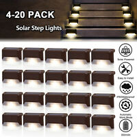 Solar Powered LED Deck Light Outdoor Path Garden Stairs Step Fence Lamp 4 to 20x
