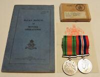 WW2 RAF RCAF Royal Canadian Air Force Manual, British War Defence Medal pair,box