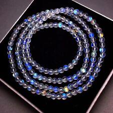 4.5mm Natural Burma Moonstone Rainrow Blue Light Round Beads Bracelet Aaaa