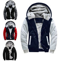 Winter Men Thicken Hoodie Outerwear Warm Fleece Hooded Zipper Jacket Coat S-5XL