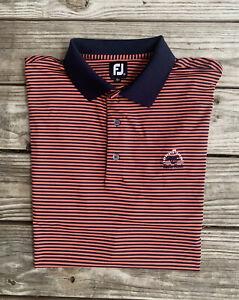 FootJoy Mens Casual Golf Polo Sz XXL Navy/Dark Pink Stripe Golf Course Logo