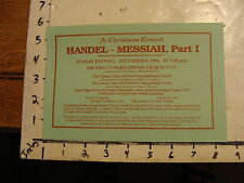 vintage music Card: Handel Messiah part I 1996 Christmas concert