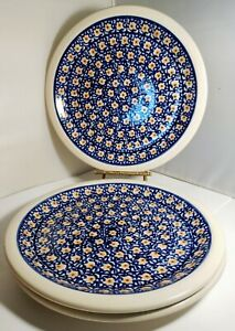 "3 Boleslawiec Polish Pottery Dinner Plates 10¾"" Blue White Yellow flowers"