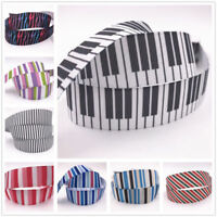 DIY 5 Yard 1'' 25MM stripe Printed Grosgrain Ribbon Hair Bow Sewing Ribbon Craft