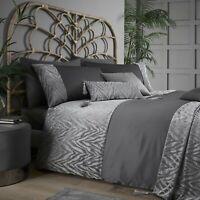 """Zsa Zsa"" By Caprice Home Animal Zebra Print Duvet Cover Bedding Set Slate Grey"