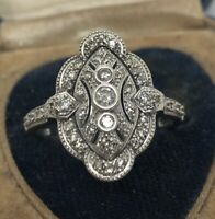 Vintage Sterling Silver Ring 925 Size 10.5 Deco Edwardian Style CZ Mexico