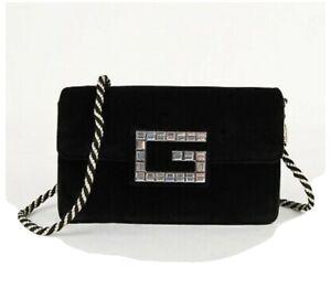 New Gucci Women's Wallet Broadway Black Velvet Gold Strap Cross Body Bag