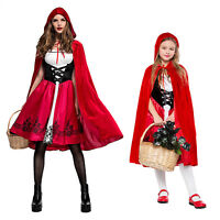 Women Girls Little Red Riding Hood Long Cape Party Fancy Dress Halloween Costume
