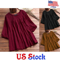 Women's Medium Sleeved Blouse Plus Size Solid Color Lady Casual Shirt Top Loose