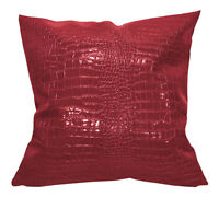 pd1009a Red Faux Crocodile Glossy Leather Cushion Cover/Pillow Case*Custom Size