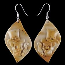 Carved Skull Silver Earring EH900045