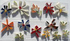 Broken Cut China Plate Tiles, 14 Red, White & Orange Mixed Flowers Mosaic