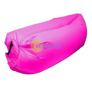 Pink Inflatable Lounger Air Bag Comfort Outdoor Relax Sofa Camping Beach