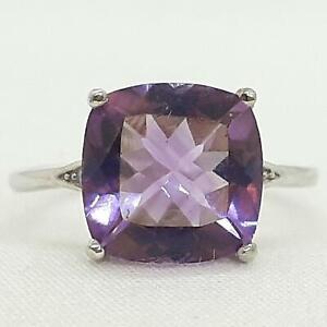 World Class 4.65ctw Amethyst & Diamond Cut White Sapphire 925 Silver Ring Size 7
