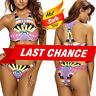 SALE Swimsuit Bikini Halter Padded Top Aztec Geometric High Neck Swimwear M-XL