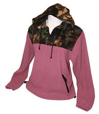NWT Ladies Trail Crest Pink Camo Fleece Hoodie Pullover, L