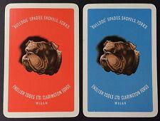 Pair of Vintage Swap/Playing Cards - ADVERTISING - ENGLISH TOOLS LTD - BULLDOGS