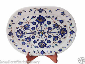 White Marble Serving Tray Plate Lapis Floral Inlay Marquetry Decors Gifts H1322