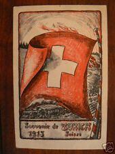 cpa suisse souvenir de zurich 1915 drapeau train