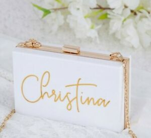Personalised Acrylic Coloured Clutch Bag - Bride, Bridal Party, Bridesmaid Gift