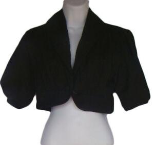 FRENCH CONNECTION Size 2 Black Short Bolero Shrug Jacket NWT $128
